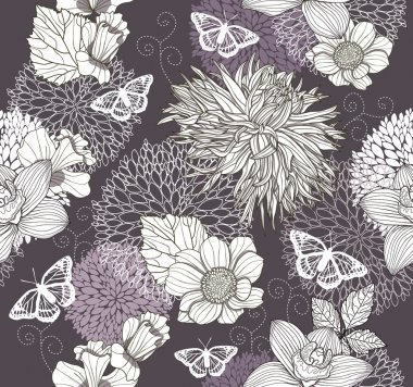 Seamless pattern with flowers and butterfly. Floral background.