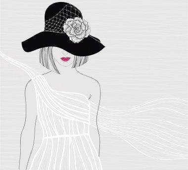 Elegant background with women in beautiful white dress. Female w