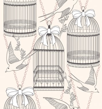 Seamless pattern with birdcages, flowers and birds. Floral and s