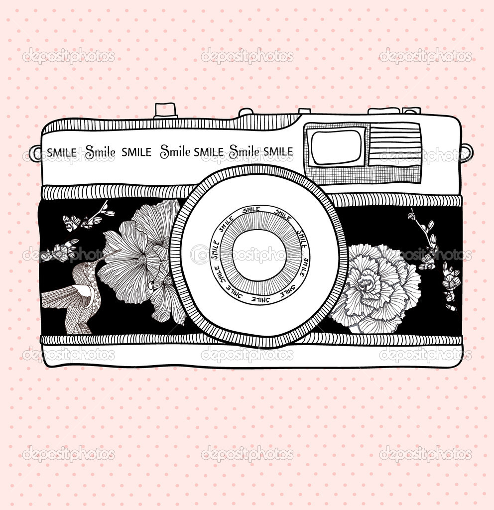 Background with retro camera. Vector illustration. Photo camera
