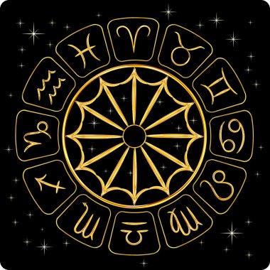 Gold zodiac symbols on black