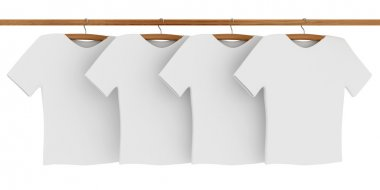 White T-shirts on Coat Hangers