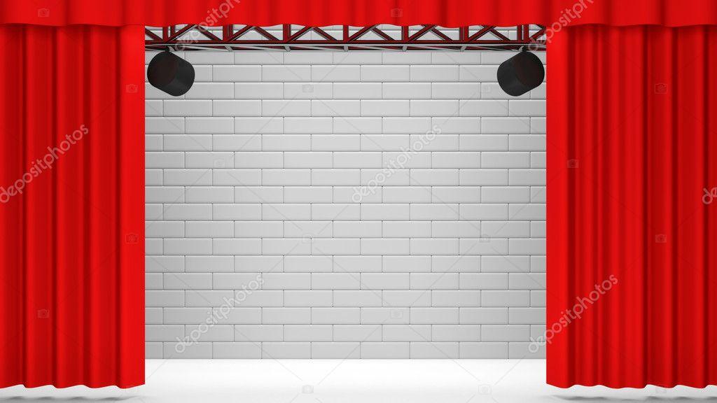 escenario con cortinas rojas y proyectores u foto de stock