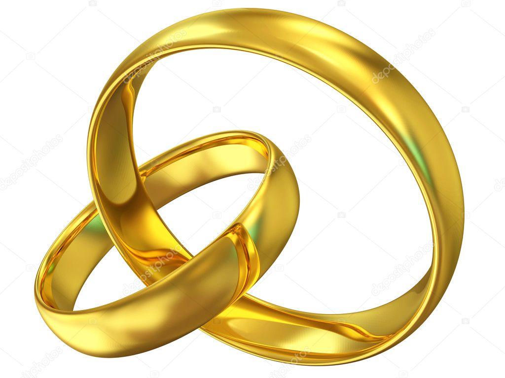 Goldene Hochzeit Ringe Isoliert Auf Weissem Hintergrund Stockfoto