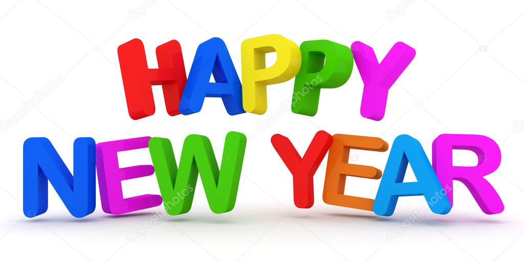 happy new year colorful text on white background stock photo