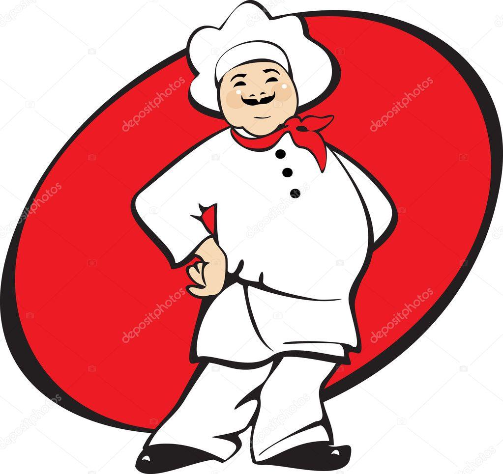 cucinare uomo cuoco pizza su sfondo rosso cartoon illustrazione vettoriale