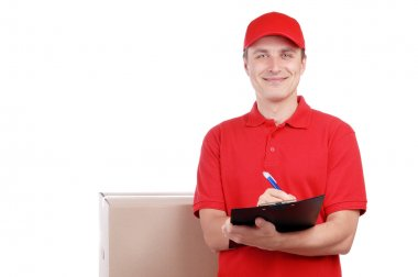Smiling courier in red uniform