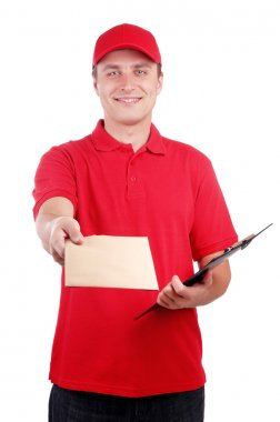 Courier with letter on white background