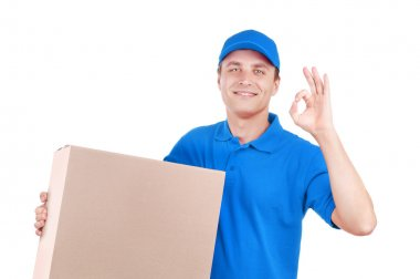 Courier on white background ok sign