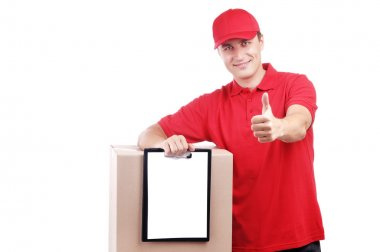 Courier in red showing thumbs up