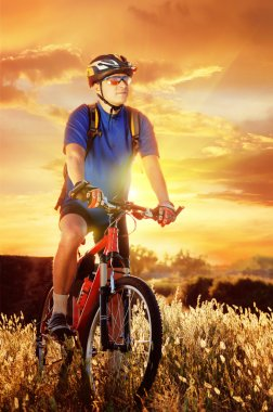 Evening shot of a cyclist with sunset background