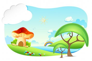 Illustration of fantasy landscape with mushroon home stock vector