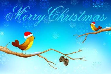 Love Birds wishing Merry Christmas
