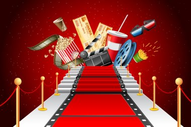 Illustration of film stripe laying as red carpet with entertainment object stock vector