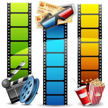 Illustration of colorful film reel with pop corn,reel and clapper board stock vector