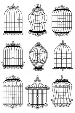 Illustration of set of different style bird cage stock vector
