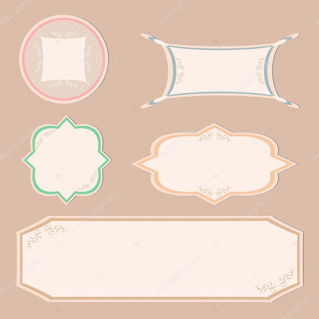 Set vintage etiketten und ornament rahmen vektor stockvektor