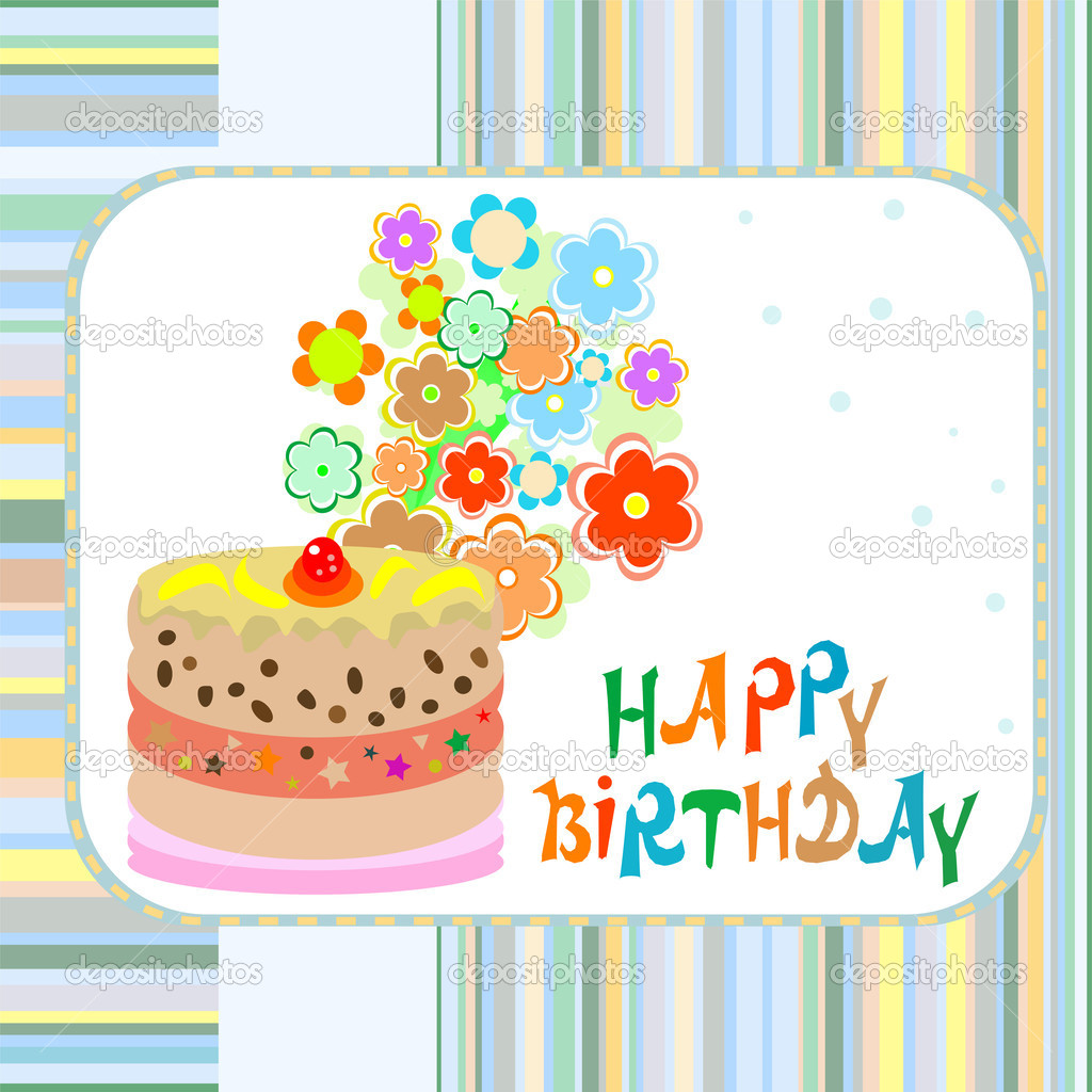 Cake And Flowers Happy Birthday Greeting Vector Background Stock