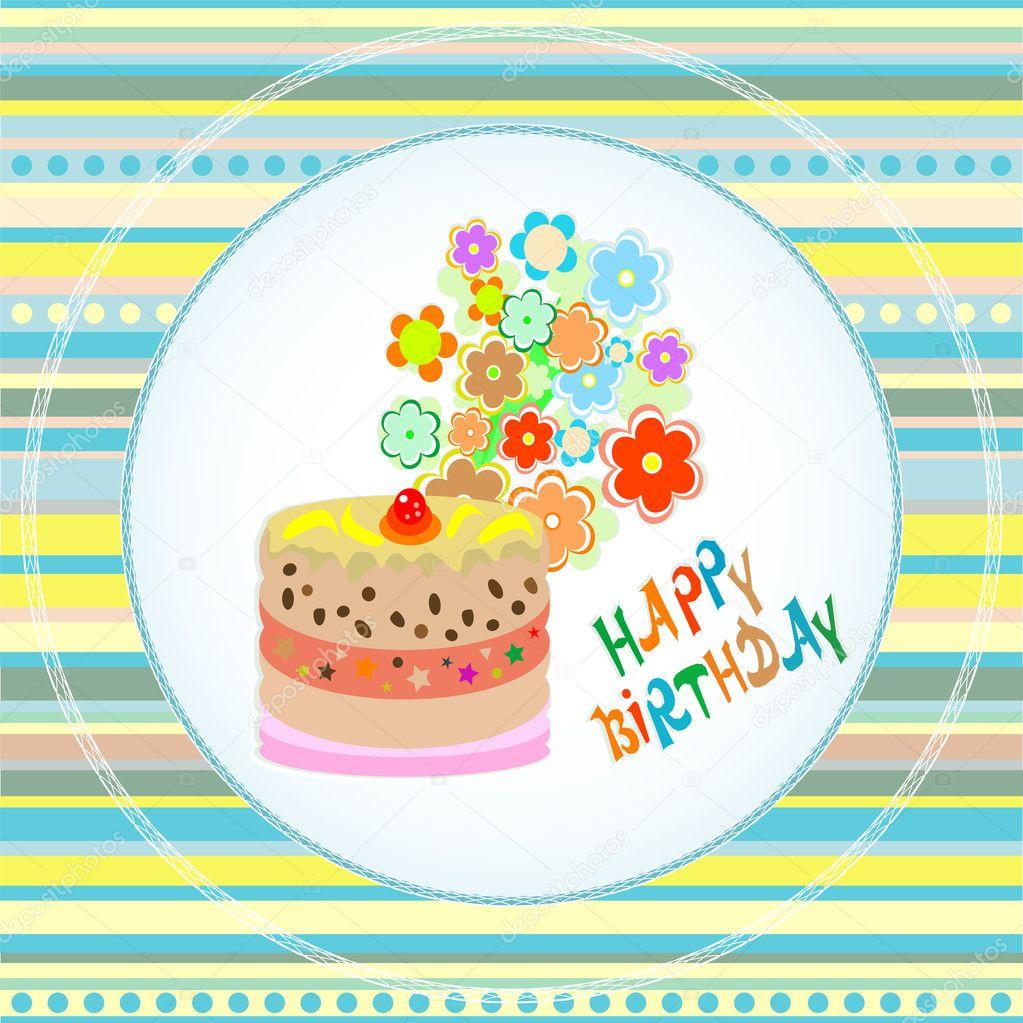 Happy birthday cakes flower design vector celebration card stock happy birthday cakes flower design vector celebration card stock vector izmirmasajfo