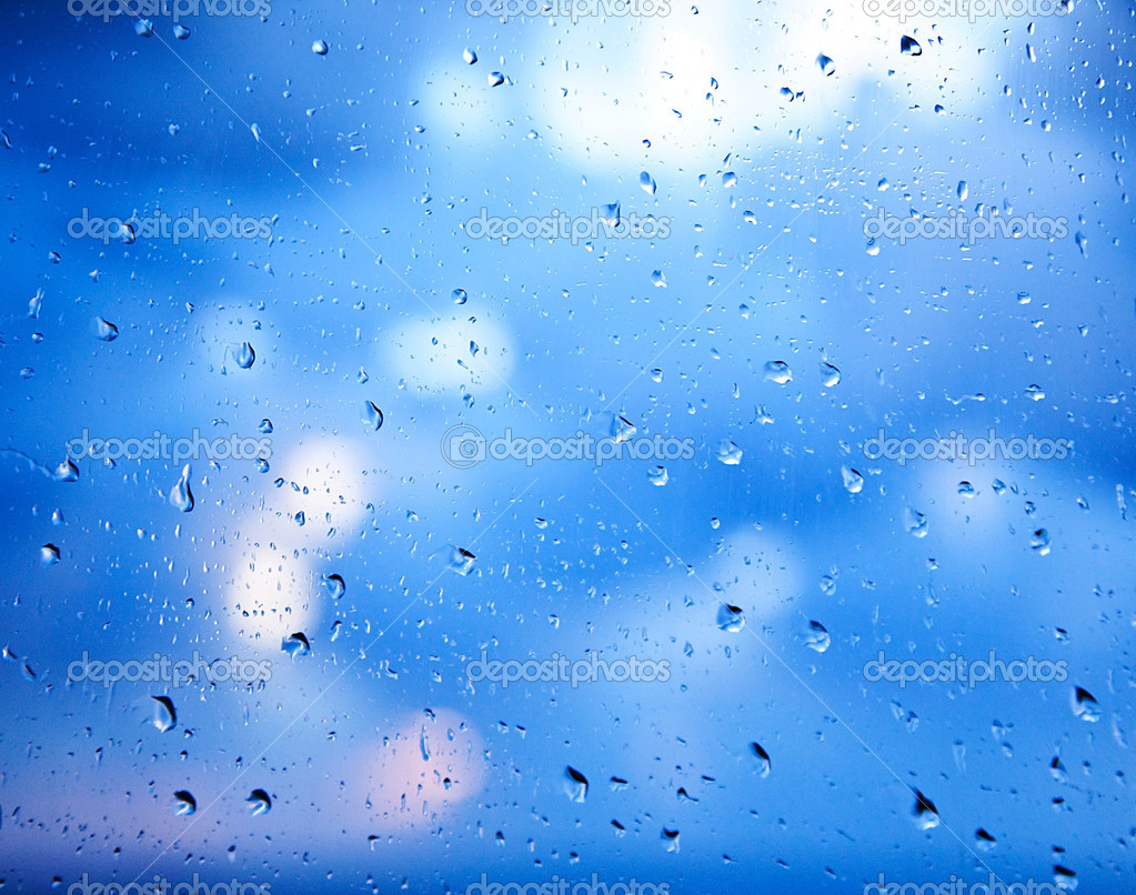 Window glass with raindrops