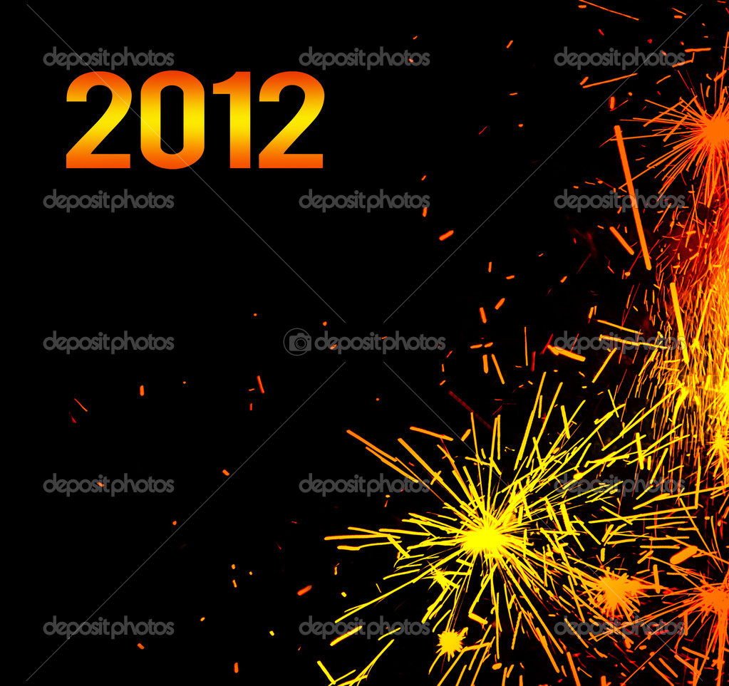 new year eve holiday background with fireworks border stock photo