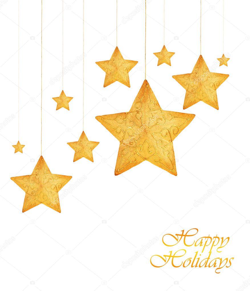 adornos de rbol de navidad de estrellas doradas u imagen de stock