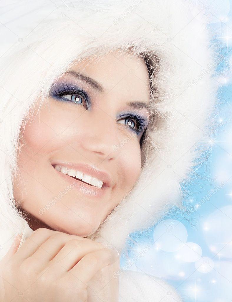 Reine Des Neiges Belle Femme Dans Le Style De Noël Photographie