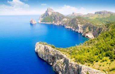 Formentor cape to Pollensa aerial sea view in Mallorca