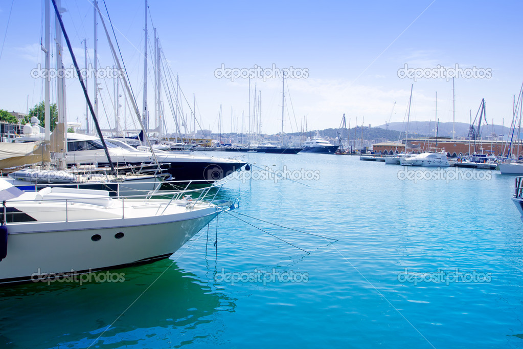 Marina in Palma de Mallorca city from Majorca