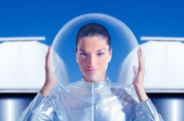 Astronaut beautiful future woman in observatory