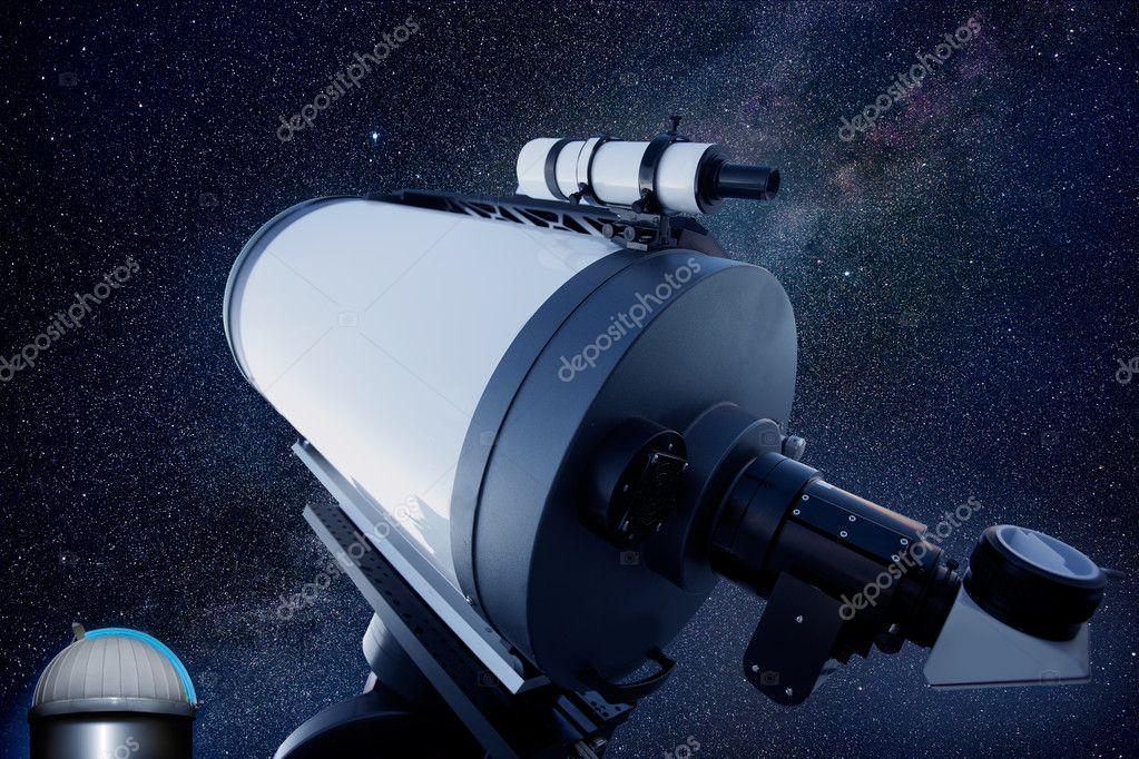 Astronomisches observatorium teleskop sternen nacht u stockfoto