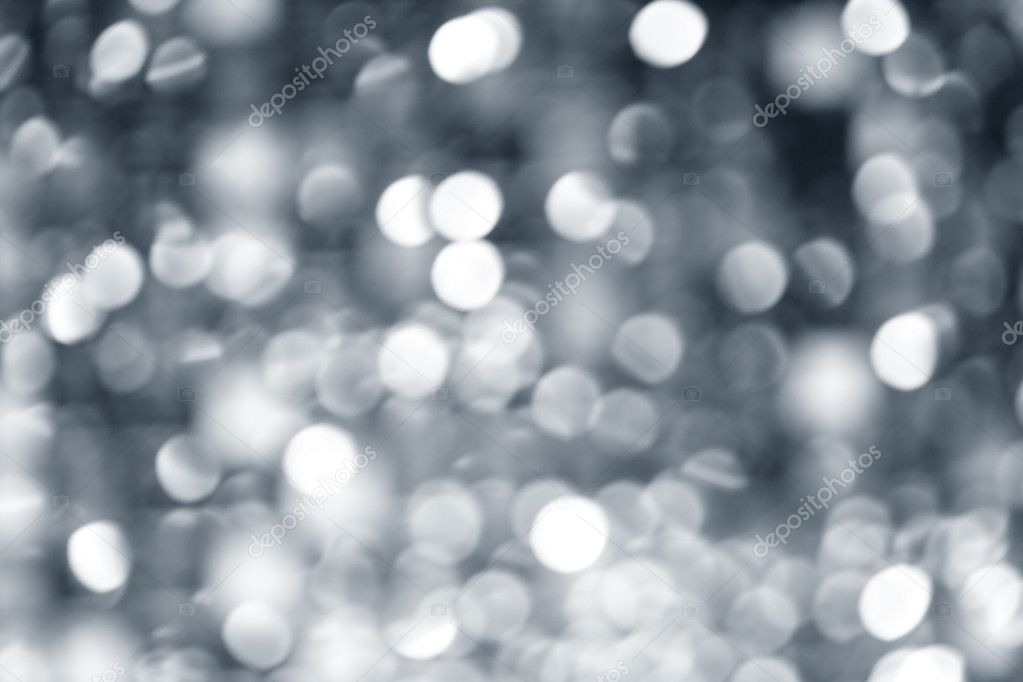 Abstract defocused blur silver christmas lights