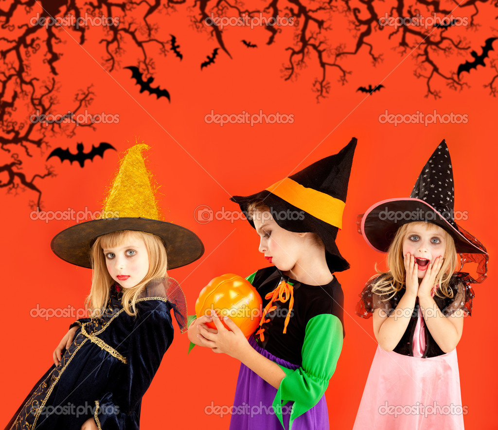 halloween group of children girls costumes — stock photo © tono