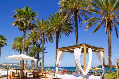 Ibiza Platja En bossa beach with palm trees