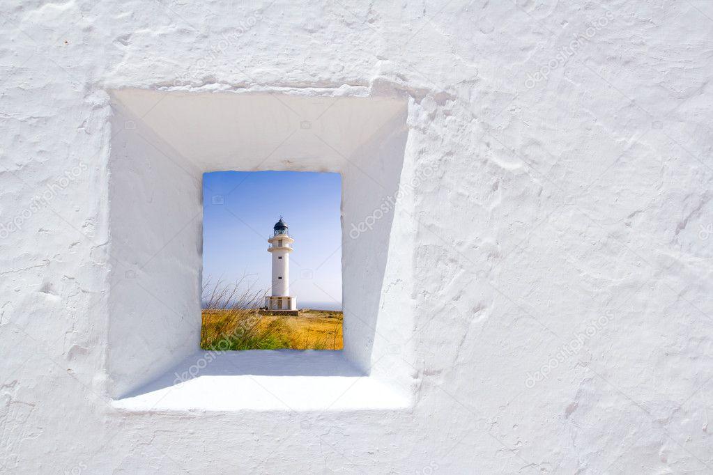 Formentera mediterranean white wall window