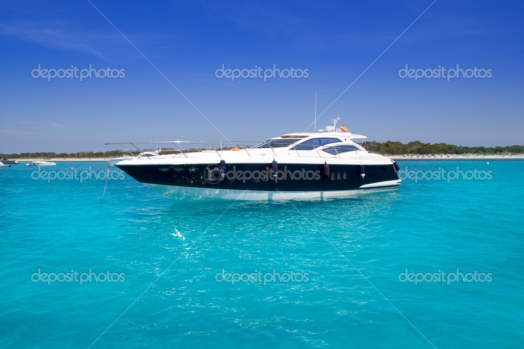 Yatch in turquoise beach of Formentera