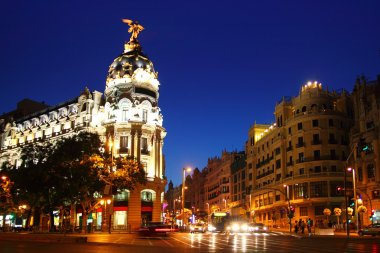 Alcala and Gran Via street in Madrid night city