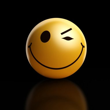 A winking smiley on a dark background