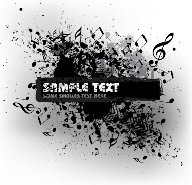 Grunge musical background with blots and place for your text (black and white) clip art vector