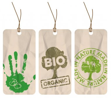 Grunge tags for organic, bio, eco