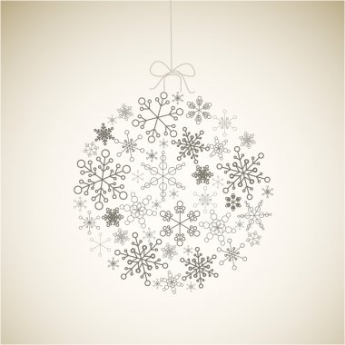 Vector Christmas ball made from gray simple snowflakes