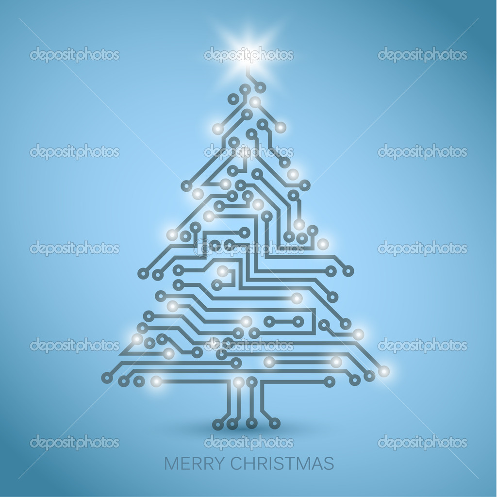 Vector christmas tree from digital electronic circuit