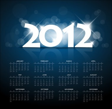 Blue calendar for the new year 2012 with back light
