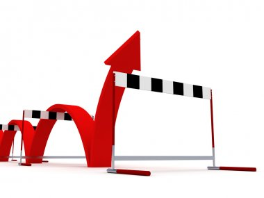 A rising arrow over the barriers