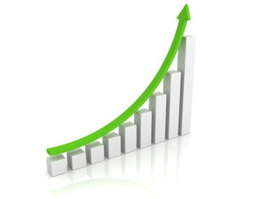 Growing graph with a green arrow pointing upward