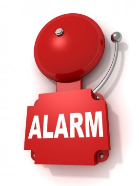 Red retro fire alarm bell