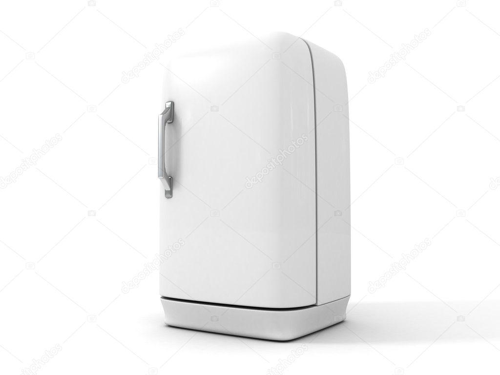 Kühlschrank Weiss : Weiß retro kühlschrank auf weiß u stockfoto borzaya