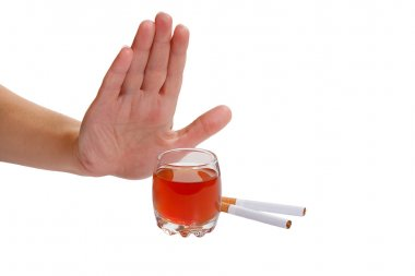 The hand rejects cigarette and alcohol.