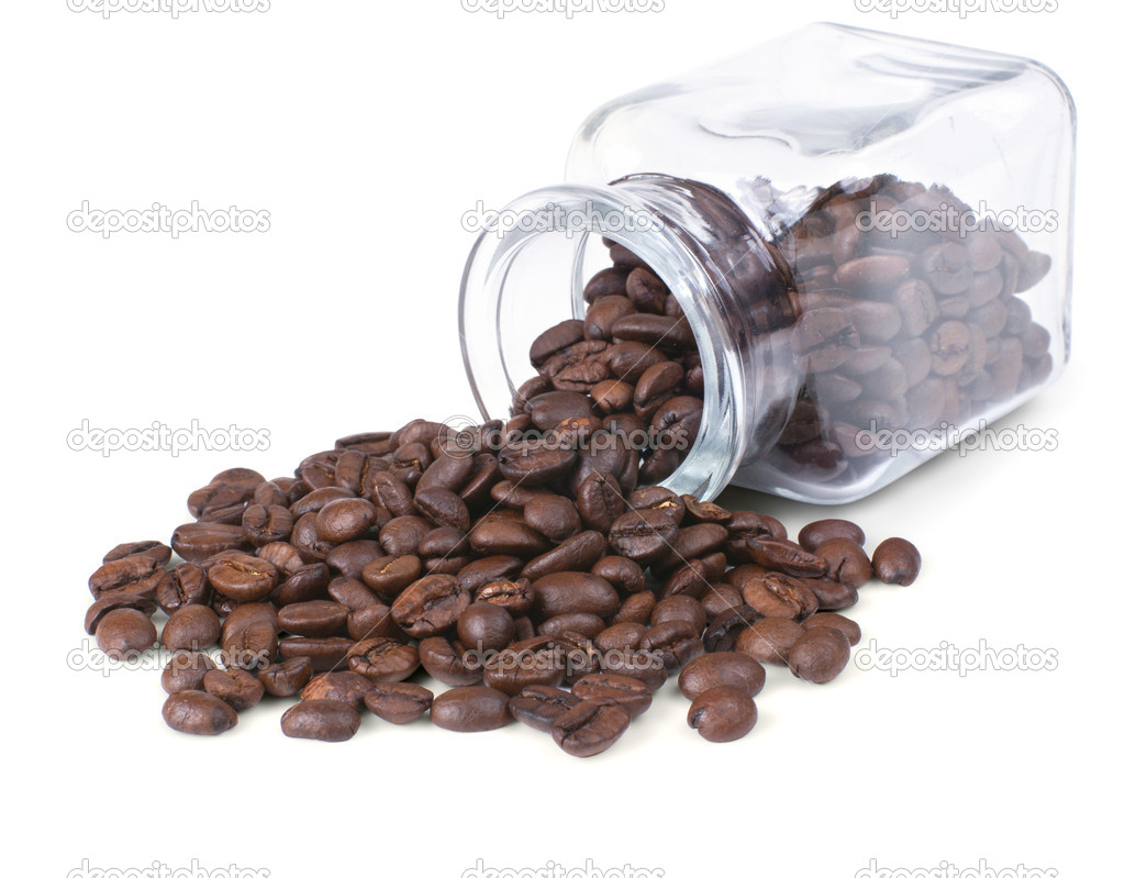 Coffee beans is scattered on a white background