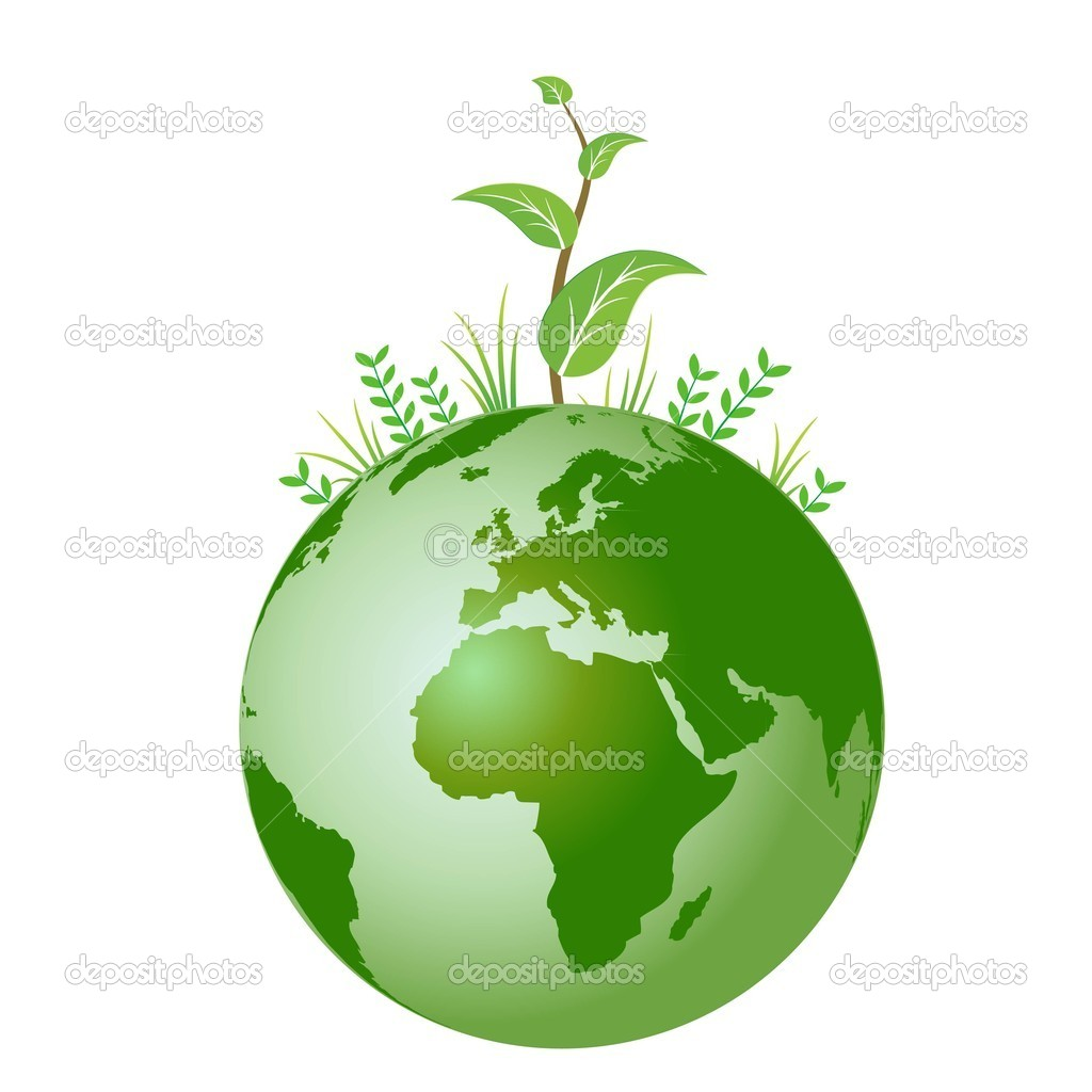 Vector green plant on earth